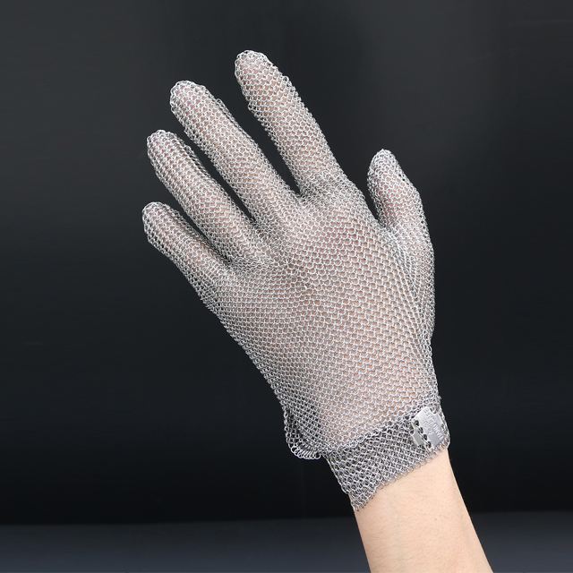 5201- chainmail butcher Glove With metal Hook Strap