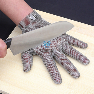 Five Finger Cut Resistant Stainless Steel Glove with Metal Hook Strap