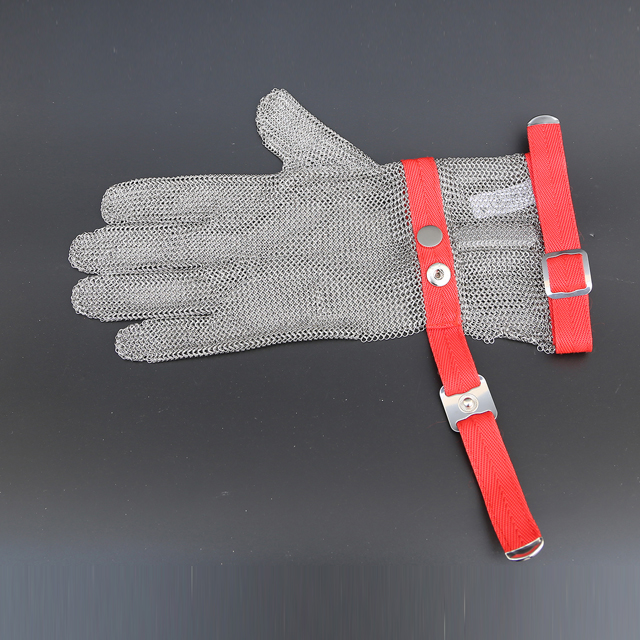 1101-Five Finger Wrist Ring Mesh Glove With Extended Textile Cuff