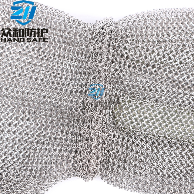 Stainless Steel Metal Mesh Gloves with Extended Cuff Spring Strap