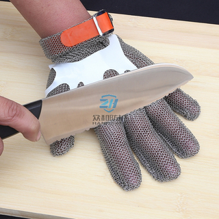 CE Certificate Food Grade Five Finger Ring Mesh Cut Resistant Gloves