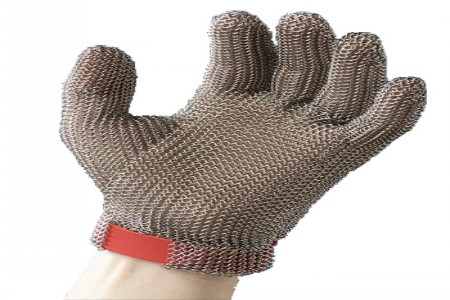 Stainless steel welded ring mesh cut resistant gloves, three fingers protection