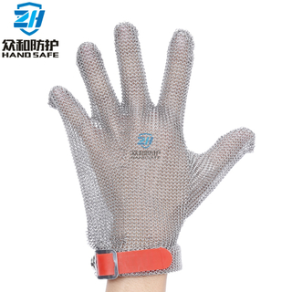 Five Finger Plastic Strap Metal Mesh Glove